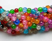 Multi Colored 8mm Crackle Glass Beads (90)