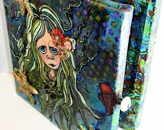 Mermaid  Keepsake  Box, Large Box, Fantasy Box, Canvas Box