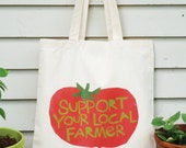 Canvas tote bag Support your local farmer hand drawn typography with tomato