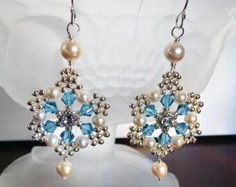 Aquamarine Swarovski Crystal with Silver Beading, Filigree Wedding Earrings, Light Aqua Earrings,  Wedding Earrings, Bridal Earrings