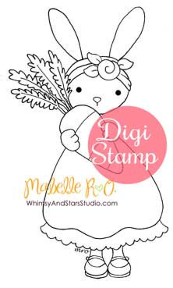 Digital Stamp Instant Download: Daisy Bunny