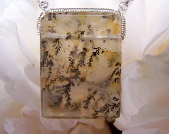 Dendritic Quartz, Facetted Baguette, sterling silver coil wrap, necklace