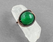 Green Agate and Copper Adjustable Ring - CLEARANCE