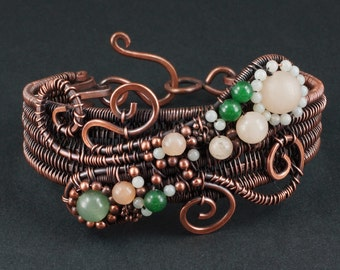 Aventurine, Amazonite and Copper Woven Bracelet