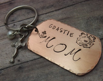 Coast guard keychain-USCG-Coastie-coastie mom-coastie dad-coast guard emblem-copper