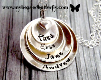 personalized mothers necklace,personalized necklace,stacked necklace,mothers necklace, grandmother necklace, gift for mom-stamped necklace