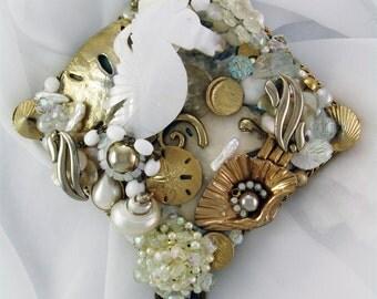 HALF OFF Sale - Hand Mirror - Seahorse Frolic - Repurposed Jewelry - M000893