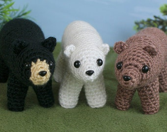 PDF Black, Brown & Polar Bears - three amigurumi CROCHET PATTERNS