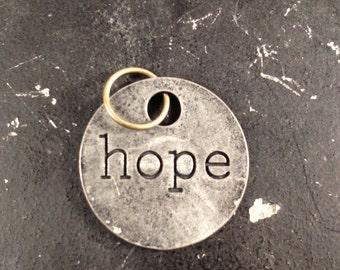 Hope Metal Charm / Hope Tagword / Industrial Jewelry / Jewelry Findings