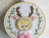 Embroidered Art Hoop - Woodland Deer Girl
