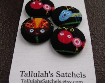 Wearable Sew On Fabric Covered Buttons - Size 36 or  7/8 inches  Bugs