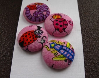 Wearable Sew On Fabric Covered Buttons - Size 36 or  7/8 inches  Colorful Bugs on Pink