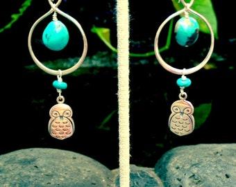 Owl and Turquoise Dangle Earrings