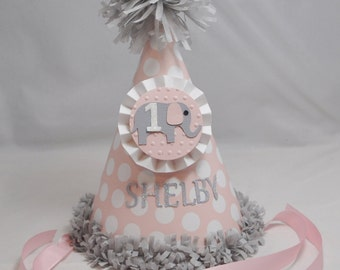 Girl Elephant 1st Birthday Party Hat- Personalized