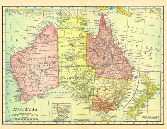 Old Map of Australia New Zealand and Tasmania printable – Australia Full Map