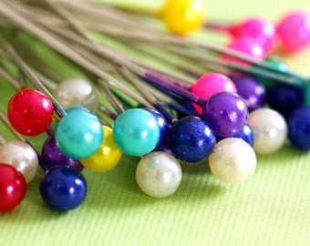 Sale 100pcs 37mm Mix Color Bead Silver Finish Ball Pins D002-2