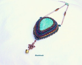 Beaded Necklace Amazonite Cabochon Necklace With Copper Flower Beads Boho Jewelry Handmade Beaded Necklace Beadwork