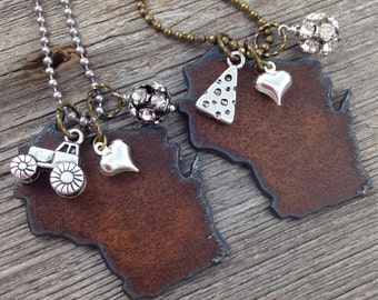 I Love WISCONSIN Necklace |  Rustic Recycled Metal State Shape with Tractor, Cheese, Heart Charms
