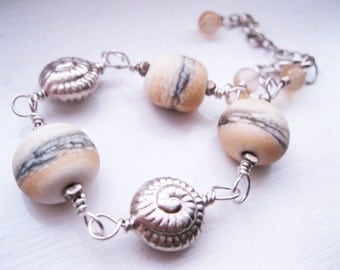 Lampwork & Fair Trade Hill Tribe Fine Silver Nautilus Sterling Silver Bracelet Fosil Beach Themed UK Seller