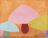 Pastelle 02 - Children Art Print  - Illustration - Nursery wall art - Baby room decor - Pattern - Mushrooms  - Red Yellow Pink Orange Blue