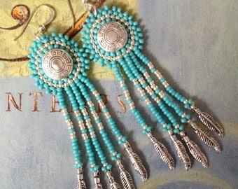 Dangle Earrings - Turquoise and Silver Seed Bead Feather Fringe Earrings