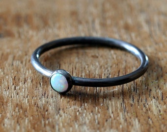 Oxidized Opal Stacking Ring in Sterling Silver, Size 2 to 15, October Birthstone, Opal Ring, Stacker Ring, White Opal, Simulated Opal Ring