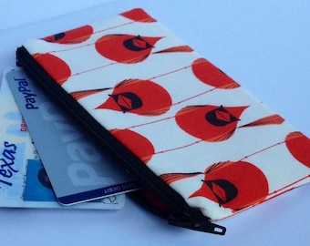Zippered Coin Purse Wallet - Fabric Business Card Holder - Charley Harper Red Cardinal Bird