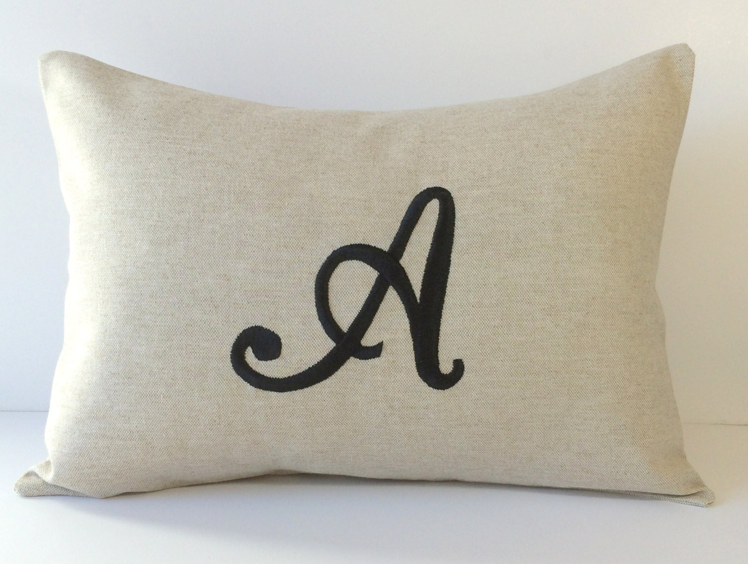 Decorative Monogram Pillow : Monogram Decorative Pillow Cover 12 X 16. Neutral Home Decor.
