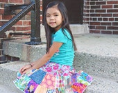 The MUST HAVE - multicolored twirl 2 tier patchwork toddler girls skirt  2T - 6Y