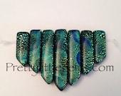 Multi Color Green Murano Lampwork Foil Glass 7 Pc Pendant Set