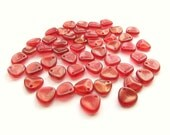 Shimmering Rosy Red Baby Glass Rose Petals, 8mm x 7mm - 50 pieces