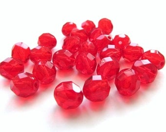 Siam Ruby Red Faceted Round Czech Glass Beads, 8mm - 25 pieces