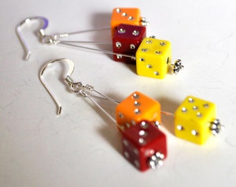 Dangling Dice Earrings - Red, Yellow, and Orange - Six by Six