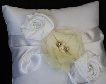Ring Bearer Pillow Ivory or White with Chiffon Flowers Embellished with Pale Yellow and Satin Flowers