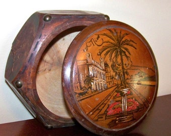 SJK Vintage -- Antique Hand Carved Olive Wood Jewelry Box -- Souvenir of Nice France (early 1900's)