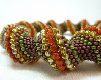ON SALE - Earth Mother Beadwoven Cellini Spiral Bangle Bracelet