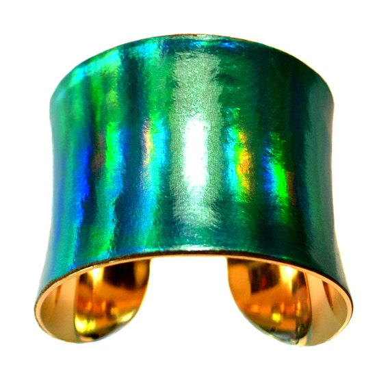 Iridescent Green Patent Leather Gold Lined Cuff Bracelet  - by UNEARTHED