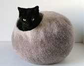 Cat Nap Cocoon / Cave / Bed / House / Vessel - Hand Felted Wool - Crisp Contemporary Design - READY TO SHIP Beige Cat Bubble