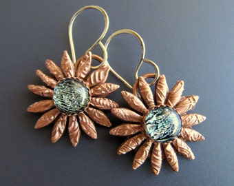 Solid Copper Tribal Daisy Earrings with Fused Dichroic Glass Centers and Handmade Sterling Silver Earwires