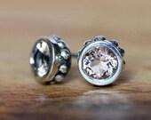 Morganite stud earrings, morganite bezel earrings, morganite studs, bezel stud earrings, silver gemstone earring, gift wrought ready to ship
