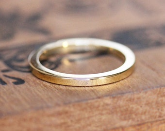 2mm gold band, thin gold wedding band, 14k yellow gold ring, gold stacking ring, womens wedding band, tiny gold ring, eco friendly, custom