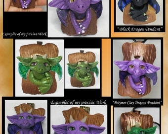 "Custom made to order OOAK "" Dragon Polymer Clay Pendant "" -Your Design"