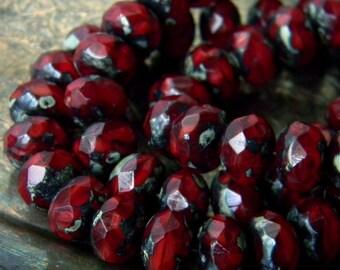 Cherry Tarts (10) -Czech Glass Rondelles 8x6mm