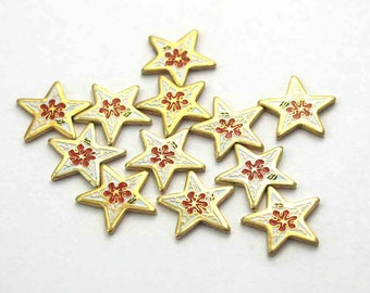 Tiny Vintage Enamel Red / Orange And White Flower Star Findings (24X) (E539-A)