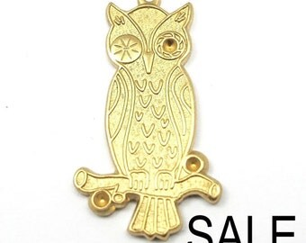 Brass Owl Charms (4X) (V315) - SALE - 50% off