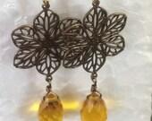 Dangle Earrings, Citrine Quartz Glass Faceted Drops, Antiqued Brass Filigrees, Citrine Swarovski Bezel set, Bridal Jewelry,  Flower Drops