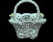 Miniature Mini White Reticulated Basket Porcelain Flowers