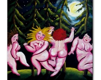 Moondance Divas Fun Whimsical Folk Art Ceramic Tile
