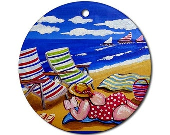 Sunbathing Beach Diva Fun Whimsical Colorful Round Porcelain Ornament