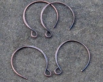 Handmade Copper Hoopy Earwires (20 gauge) Bright or Oxidized (2pr) Jewelry Components... Made to Order